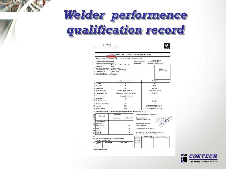 Welder performence qualification record