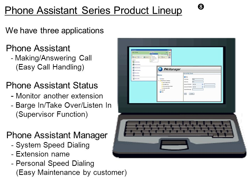 """"""" Phone Assistant Series Product Lineup Phone Assistant Manager - System Speed Dialing - Extension name - Personal Speed Dialing (Easy Maintenance by"""
