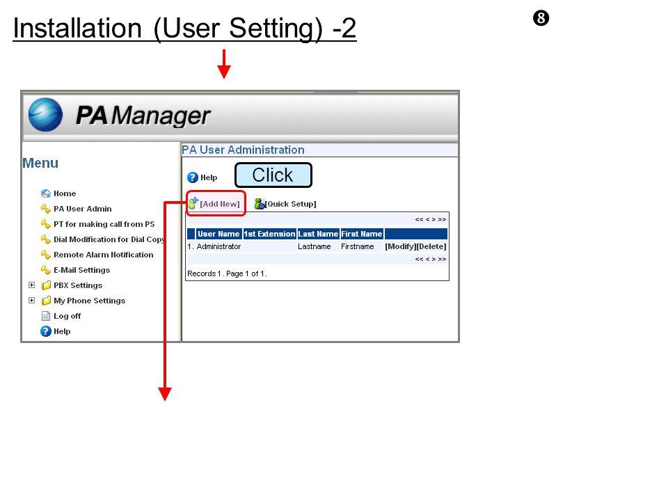 """ Click Installation (User Setting) -2"