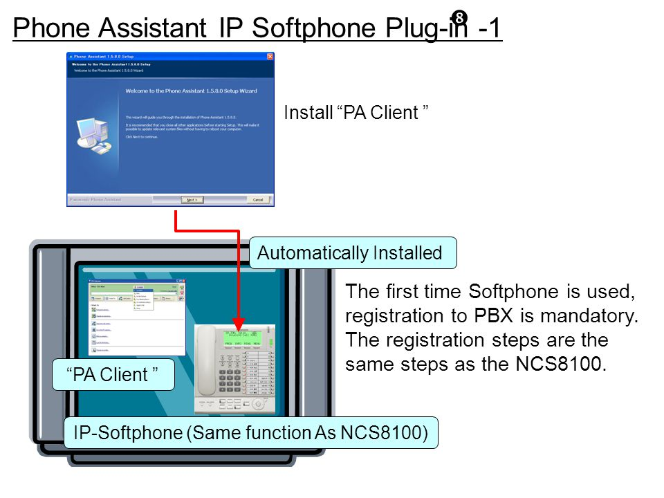 """Install """"PA Client """" IP-Softphone (Same function As NCS8100) """"PA Client """" Phone Assistant IP Softphone Plug-in -1 """" Automatically Installed The first"""