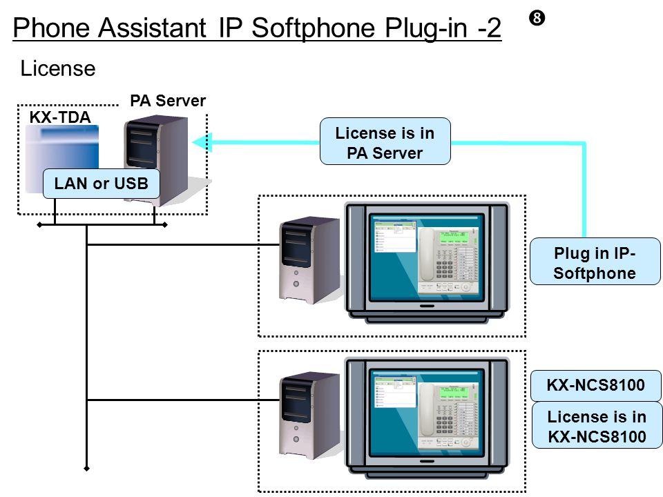 Phone Assistant IP Softphone Plug-in -2 License PA Server KX-TDA Plug in IP- Softphone LAN or USB KX-NCS8100 License is in KX-NCS8100 License is in PA