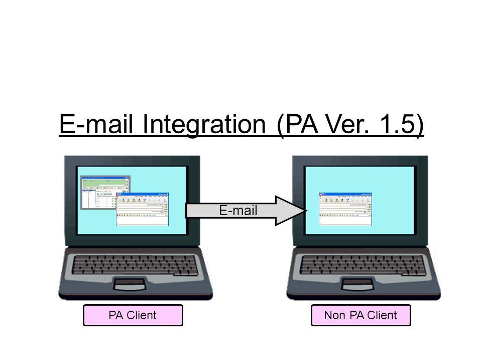 E-mail Integration (PA Ver. 1.5) E-mail Non PA ClientPA Client