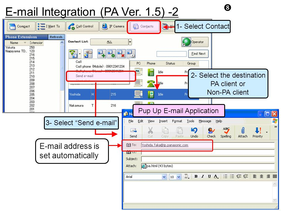 """E-mail Integration (PA Ver. 1.5) -2 """" 2- Select the destination PA client or Non-PA client 3- Select """"Send e-mail"""" Pup Up E-mail Application 1- Select"""