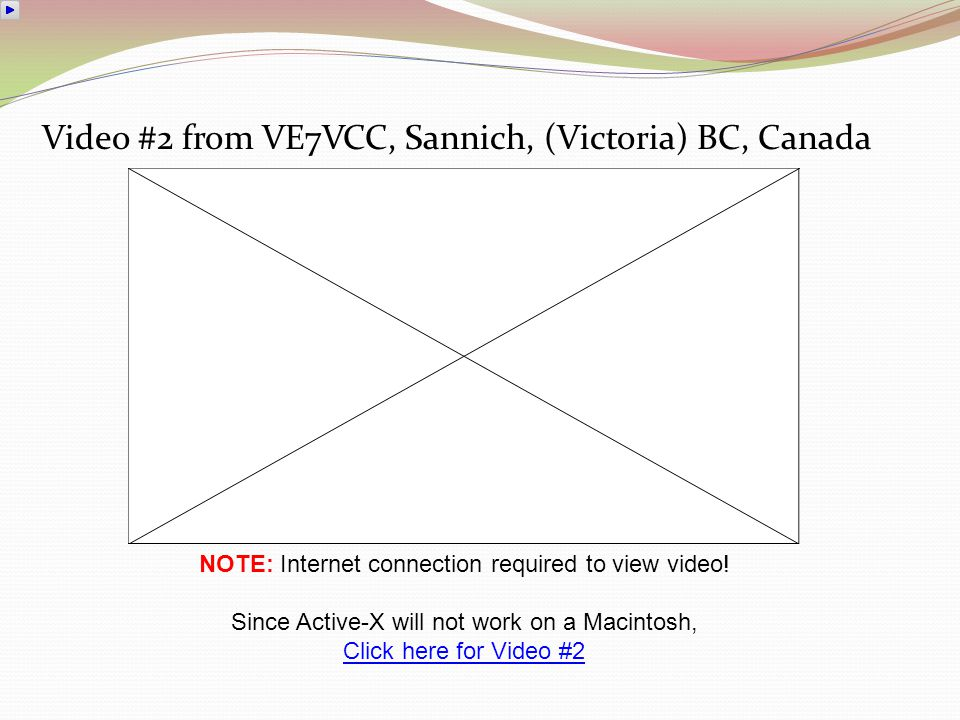 Video #1 from VE7VCC, Sannich, (Victoria) BC, Canada NOTE: Internet connection required to view video! Since Active-X will not work on a Macintosh, Cl