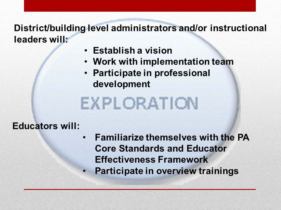 Educators will: Familiarize themselves with the PA Core Standards and Educator Effectiveness Framework Participate in overview trainings District/building level administrators and/or instructional leaders will: Establish a vision Work with implementation team Participate in professional development