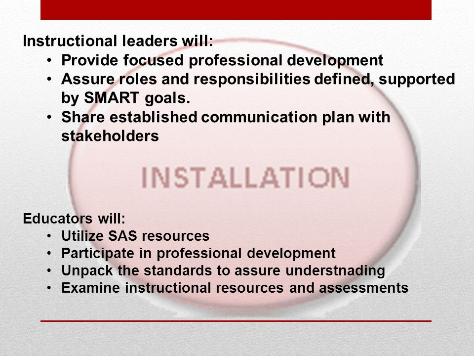 Instructional leaders will: Provide focused professional development Assure roles and responsibilities defined, supported by SMART goals. Share establ