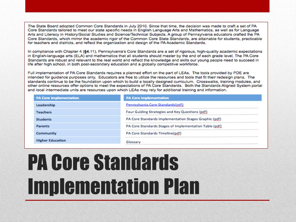 PA Core Standards Implementation Plan