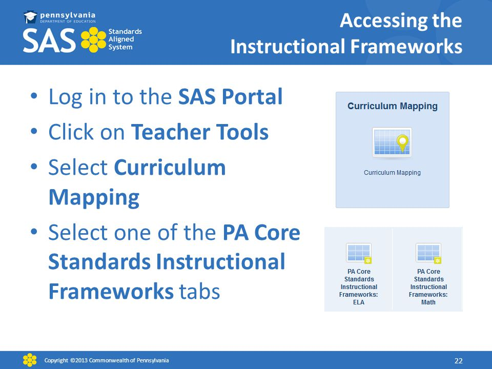 Log in to the SAS Portal Click on Teacher Tools Select Curriculum Mapping Select one of the PA Core Standards Instructional Frameworks tabs Copyright