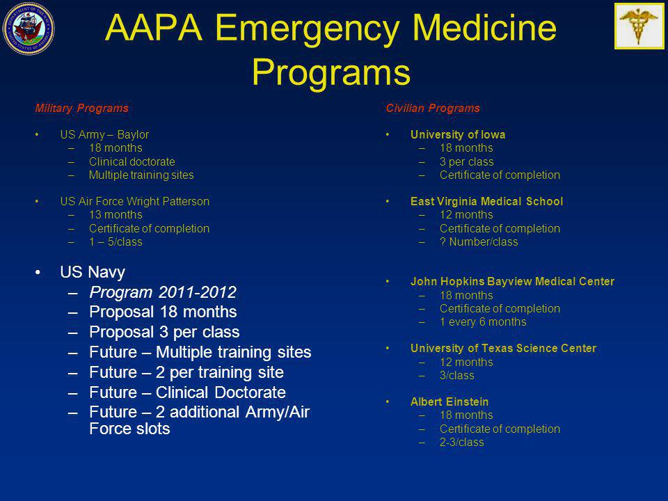 AAPA Emergency Medicine Programs Military Programs US Army – Baylor –18 months –Clinical doctorate –Multiple training sites US Air Force Wright Patterson –13 months –Certificate of completion –1 – 5/class US Navy –Program 2011-2012 –Proposal 18 months –Proposal 3 per class –Future – Multiple training sites –Future – 2 per training site –Future – Clinical Doctorate –Future – 2 additional Army/Air Force slots Civilian Programs University of Iowa –18 months –3 per class –Certificate of completion East Virginia Medical School –12 months –Certificate of completion –.