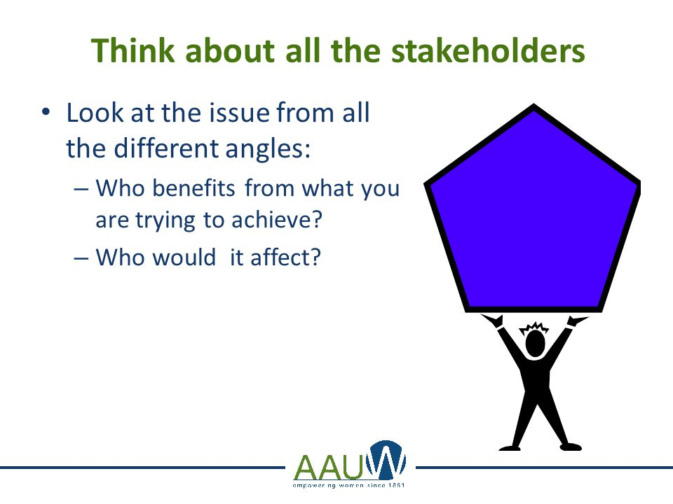Think about all the stakeholders Look at the issue from all the different angles: – Who benefits from what you are trying to achieve? – Who would it a