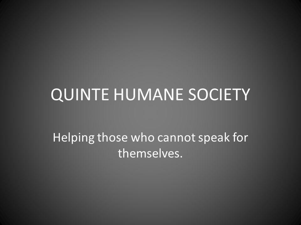 QUINTE HUMANE SOCIETY Helping those who cannot speak for themselves.