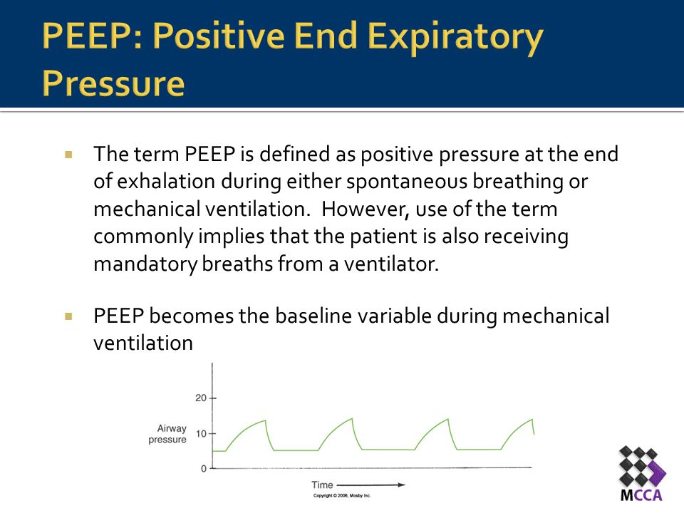  The term PEEP is defined as positive pressure at the end of exhalation during either spontaneous breathing or mechanical ventilation. However, use o