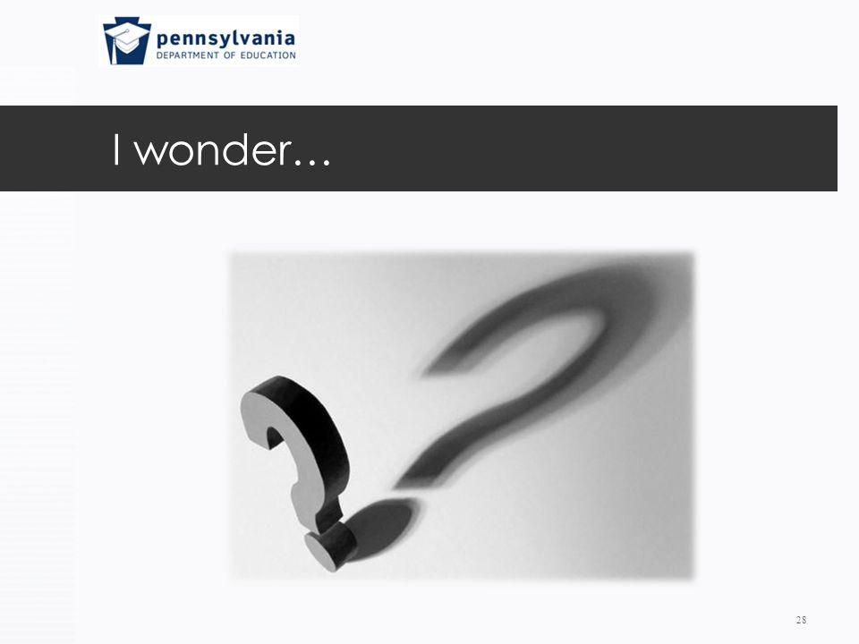 I wonder… 28