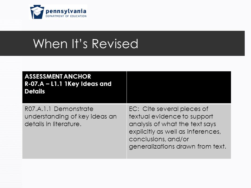 When It's Revised ASSESSMENT ANCHOR R-07.A – L1.1 1Key Ideas and Details R07.A.1.1 Demonstrate understanding of key ideas an details in literature.