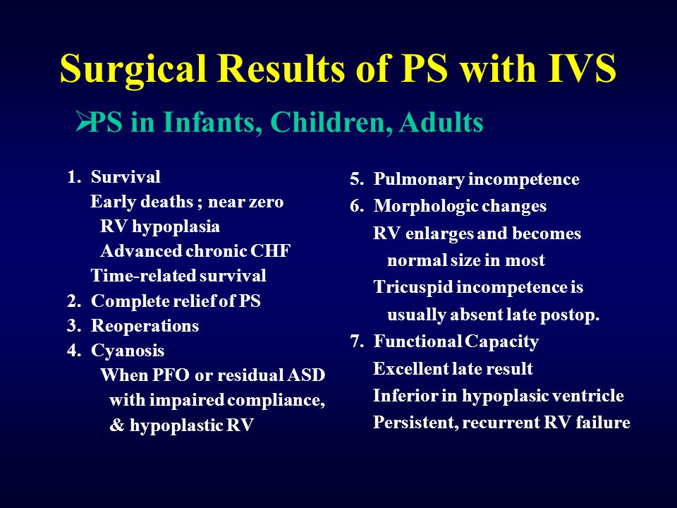 Surgical Results of PS with IVS 1.