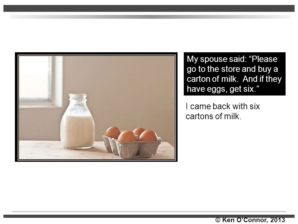 """© Ken O'Connor, 2013 II came My spouse said: """"Please go to the store and buy a carton of milk. And if they have eggs, get six."""" I came back with six c"""