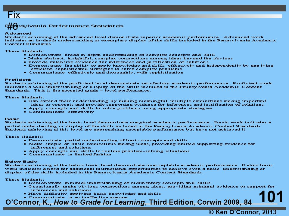 © Ken O'Connor, 2013 O'Connor, K., How to Grade for Learning, Third Edition, Corwin 2009, 84 Fix #8 101