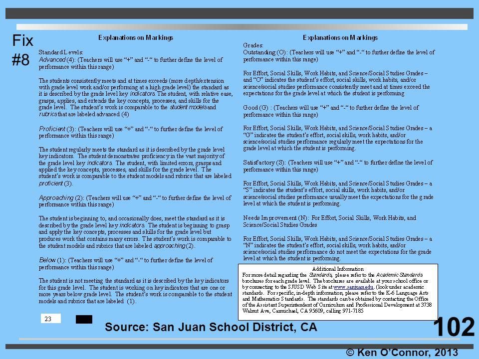 © Ken O'Connor, 2013 Source: San Juan School District, CA Fix #8 102