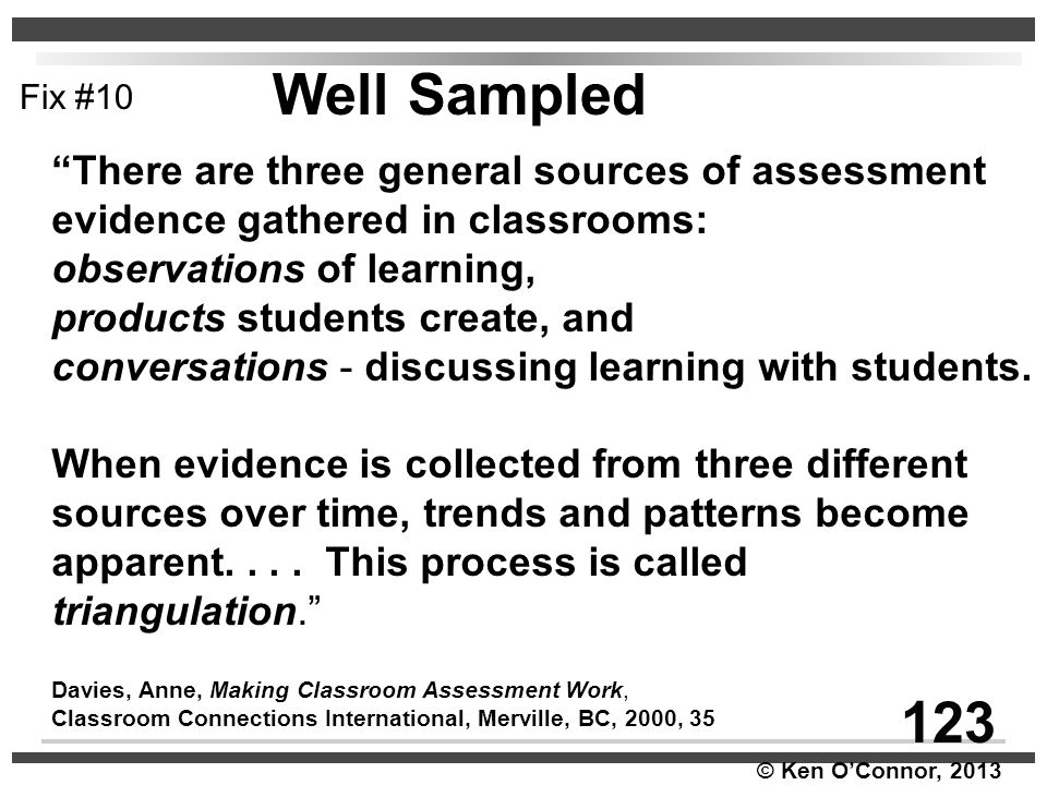 """© Ken O'Connor, 2013 """"There are three general sources of assessment evidence gathered in classrooms: observations of learning, products students creat"""