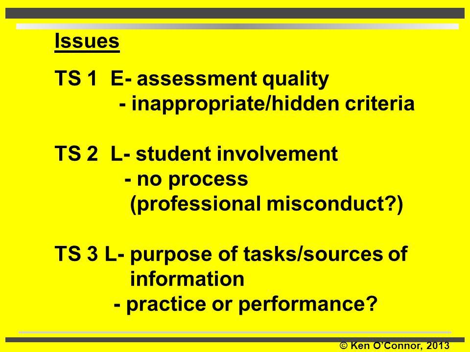 © Ken O'Connor, 2013 Issues TS 1 E- assessment quality - inappropriate/hidden criteria TS 2 L- student involvement - no process (professional miscondu