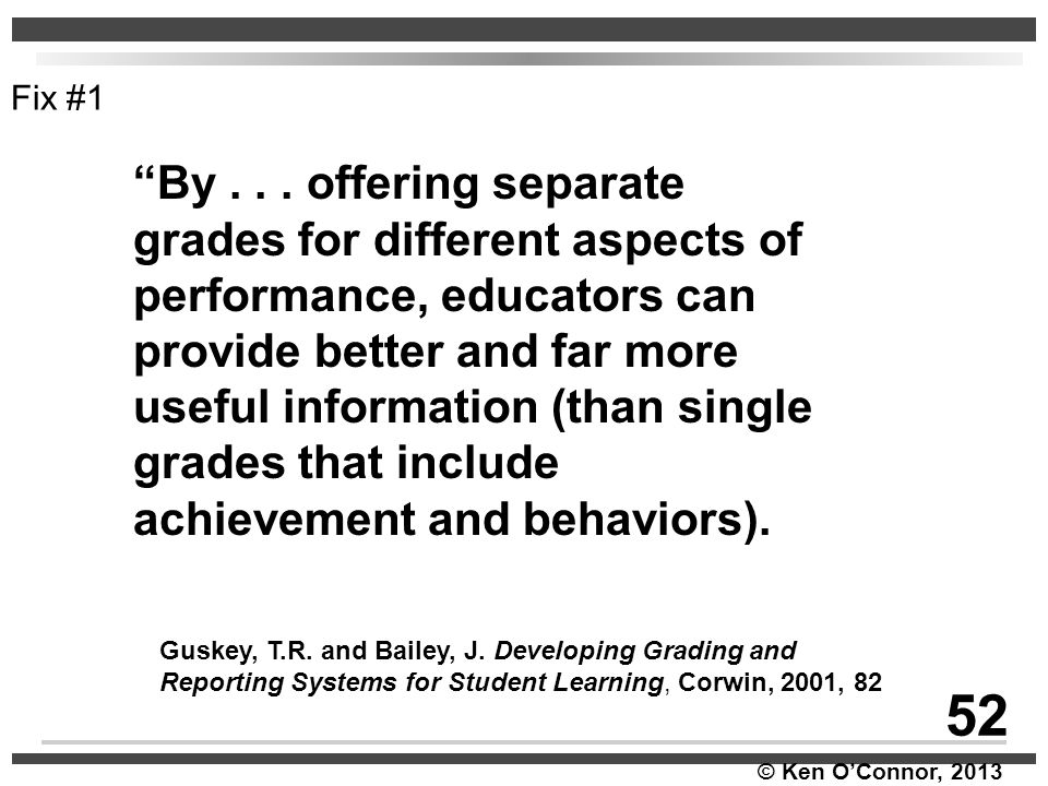 """© Ken O'Connor, 2013 Guskey, T.R. and Bailey, J. Developing Grading and Reporting Systems for Student Learning, Corwin, 2001, 82 Fix #1 52 """"By... offe"""