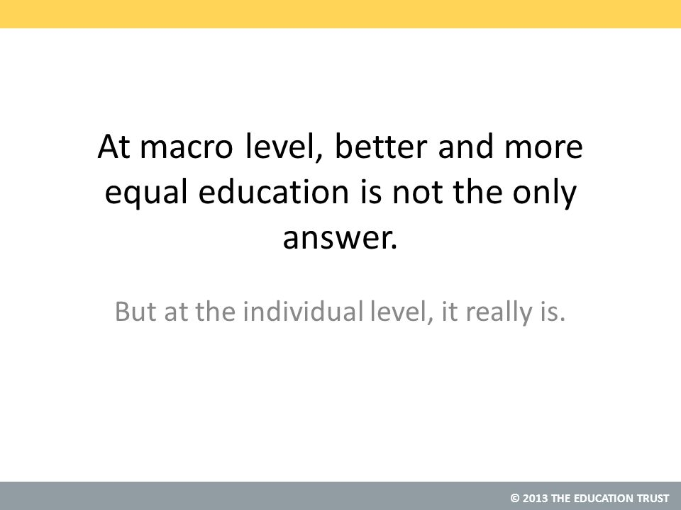 © 2013 THE EDUCATION TRUST At macro level, better and more equal education is not the only answer.