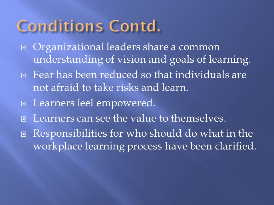  Organizational leaders share a common understanding of vision and goals of learning.  Fear has been reduced so that individuals are not afraid to t