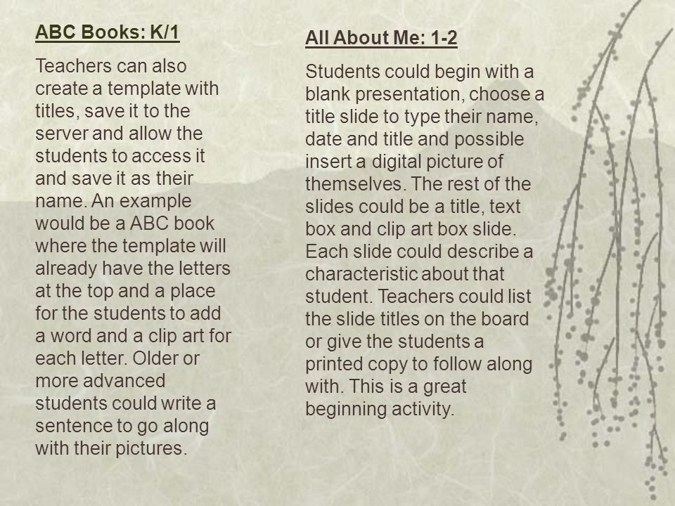 ABC Books: K/1 Teachers can also create a template with titles, save it to the server and allow the students to access it and save it as their name.