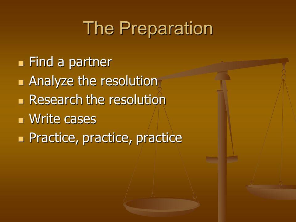 The Preparation Find a partner Find a partner Analyze the resolution Analyze the resolution Research the resolution Research the resolution Write cases Write cases Practice, practice, practice Practice, practice, practice
