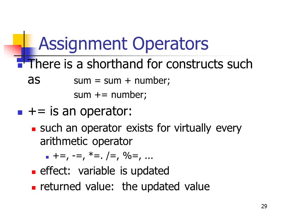 29 Assignment Operators There is a shorthand for constructs such as sum = sum + number; sum += number; += is an operator: such an operator exists for virtually every arithmetic operator +=, -=, *=.