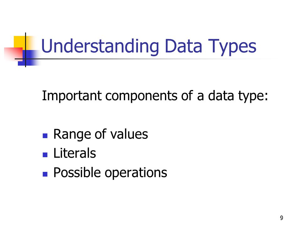 9 Understanding Data Types Important components of a data type: Range of values Literals Possible operations