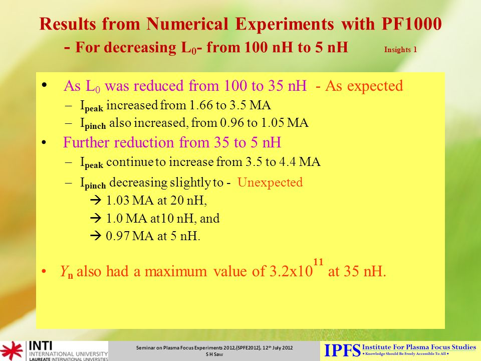 Seminar on Plasma Focus Experiments 2012,(SPFE2012), 12 th July 2012 S H Saw Results from Numerical Experiments with PF1000 - For decreasing L 0 - fro