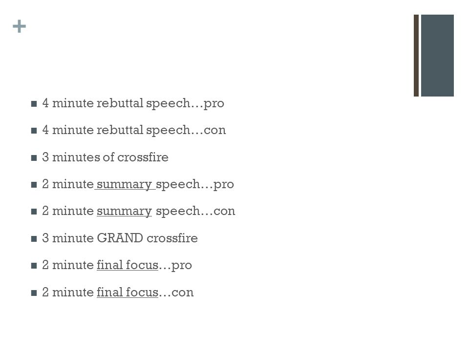 + 4 minute rebuttal speech…pro 4 minute rebuttal speech…con 3 minutes of crossfire 2 minute summary speech…pro 2 minute summary speech…con 3 minute GRAND crossfire 2 minute final focus…pro 2 minute final focus…con