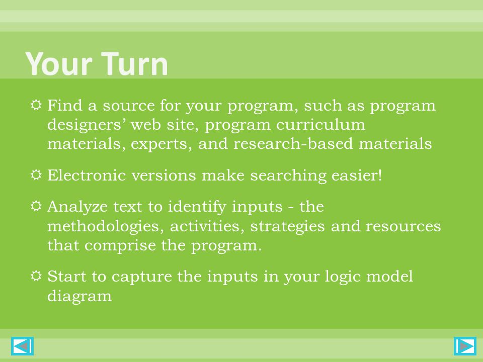  Find a source for your program, such as program designers' web site, program curriculum materials, experts, and research-based materials  Electronic versions make searching easier.