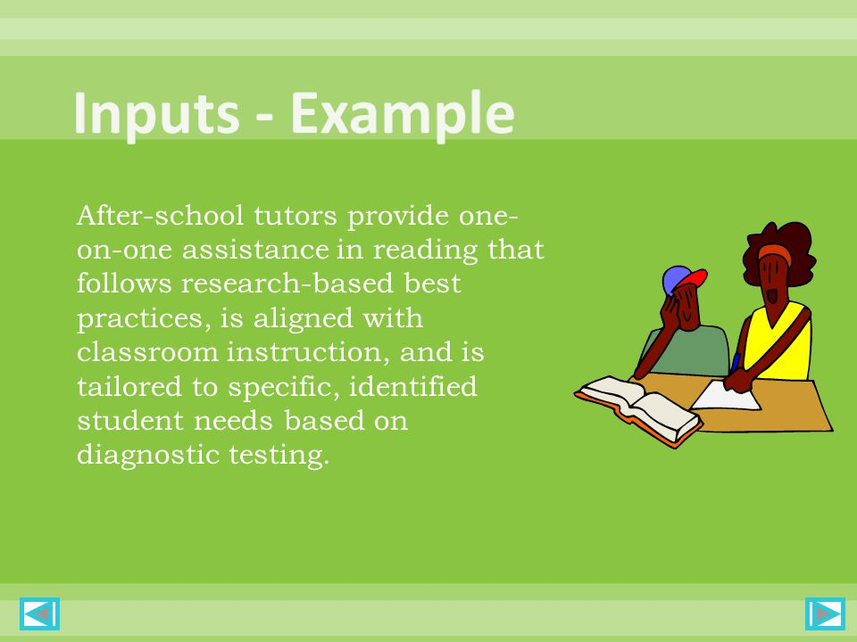 After-school tutors provide one- on-one assistance in reading that follows research-based best practices, is aligned with classroom instruction, and is tailored to specific, identified student needs based on diagnostic testing.