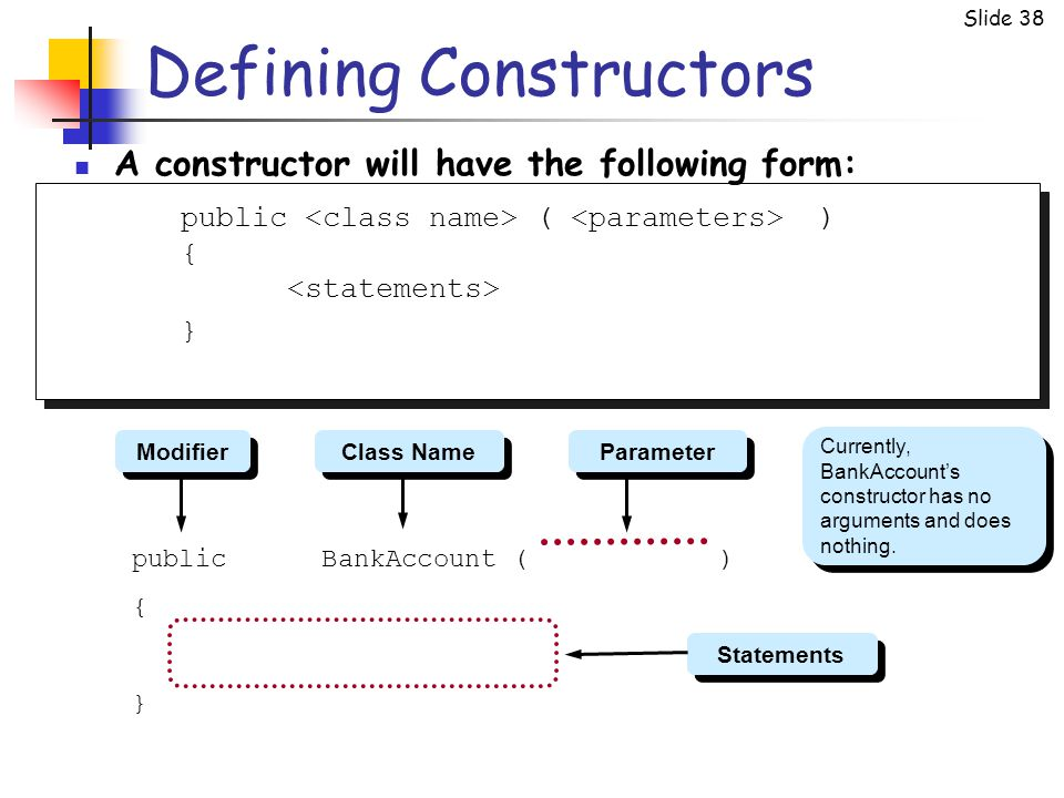 Slide 38 Defining Constructors A constructor will have the following form: public ( ) { } public BankAccount ( ) { } Currently, BankAccount's construc