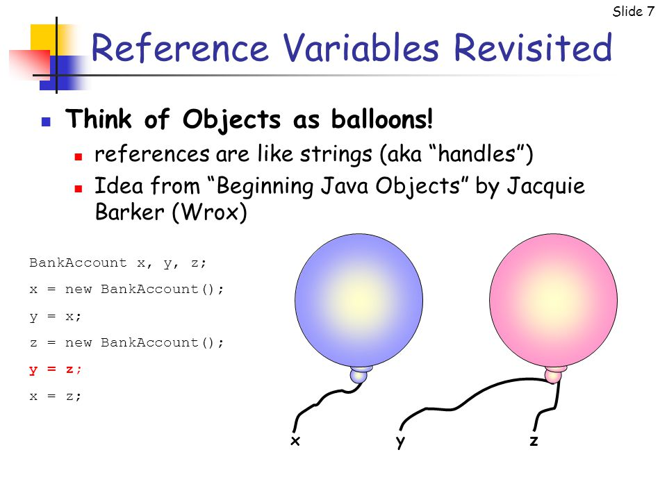 Slide 7 Reference Variables Revisited BankAccount x, y, z; x = new BankAccount(); y = x; z = new BankAccount(); y = z; x = z; xyz Think of Objects as