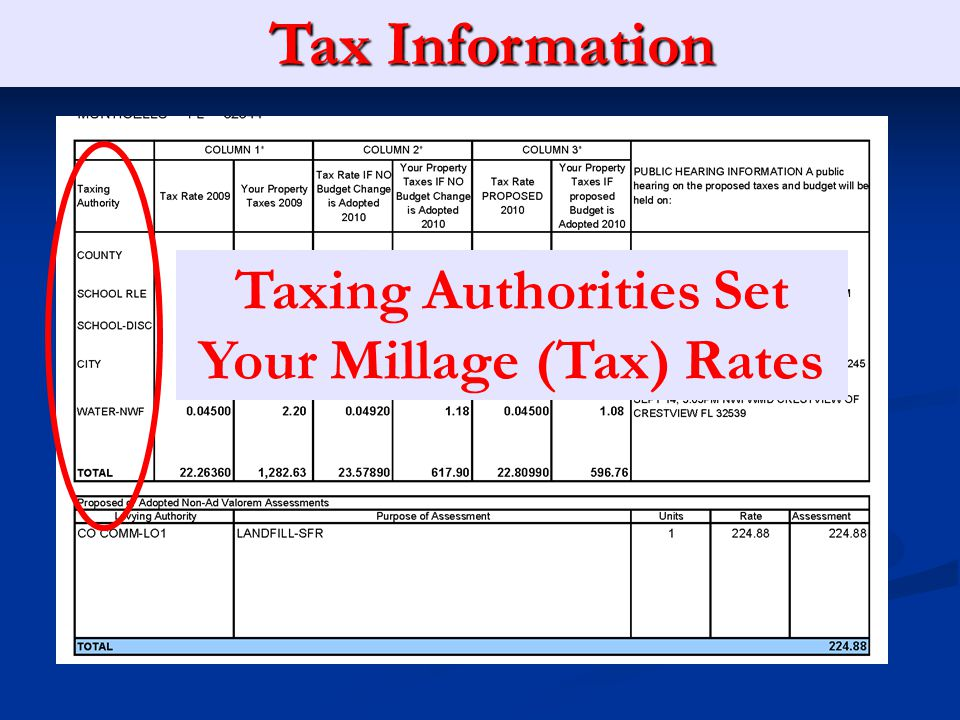 Property Appraiser Information Taxing Authority Tax Information