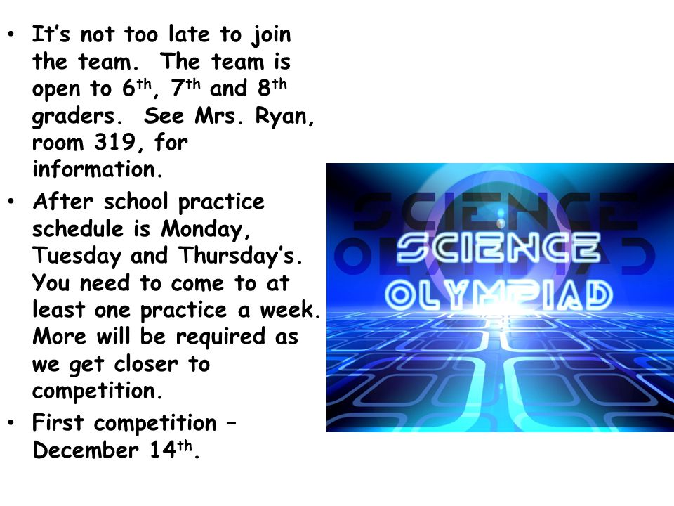 Science tutoring Thursday and Friday 7:45 to 8:00 in room 222