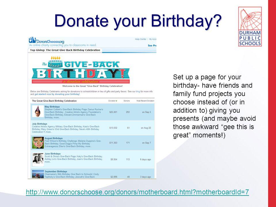 Donate your Birthday.