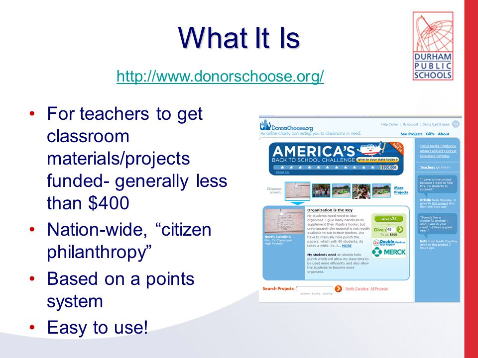 How It Works for Teachers: Submitting Projects MUST be a Teacher, Media Coordinator, or Counselor to sign up to have projects funded.