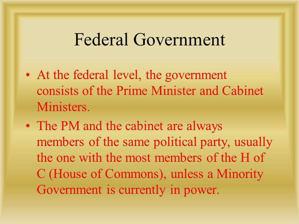 Federal Government At the federal level, the government consists of the Prime Minister and Cabinet Ministers. The PM and the cabinet are always member