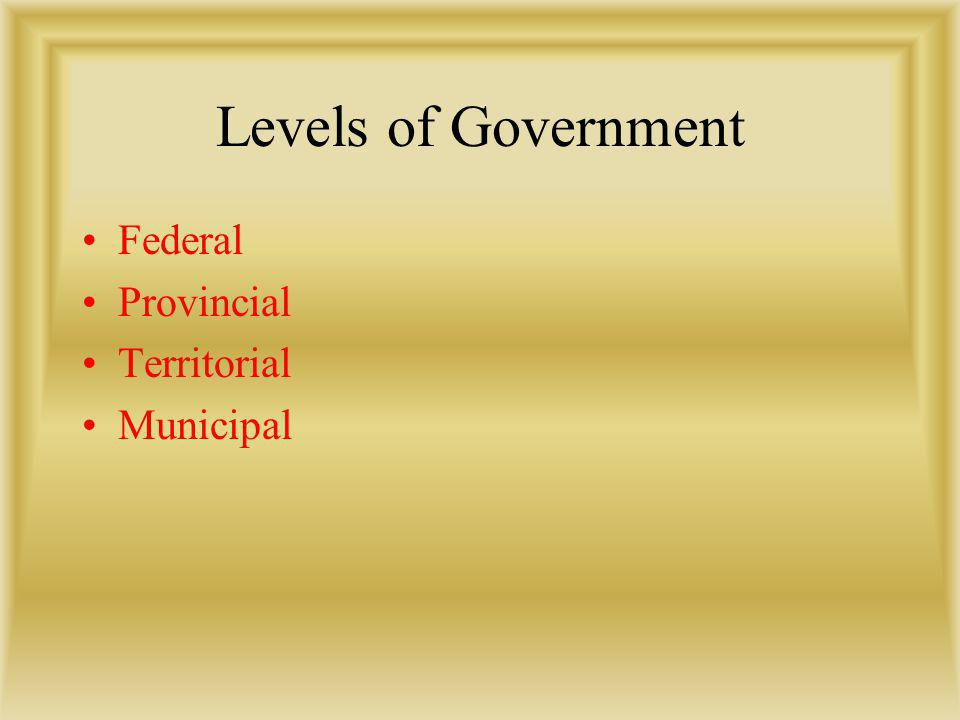 Levels of Government Federal Provincial Territorial Municipal