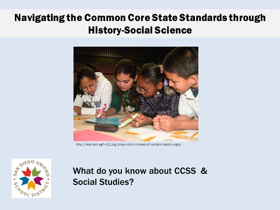 Session Goals Participants will… determine where their departments are on a continuum of understanding and implementation of the Common Core State Standards (CCSS) be exposed to models of how they can direct the work of implementing the CCSS.