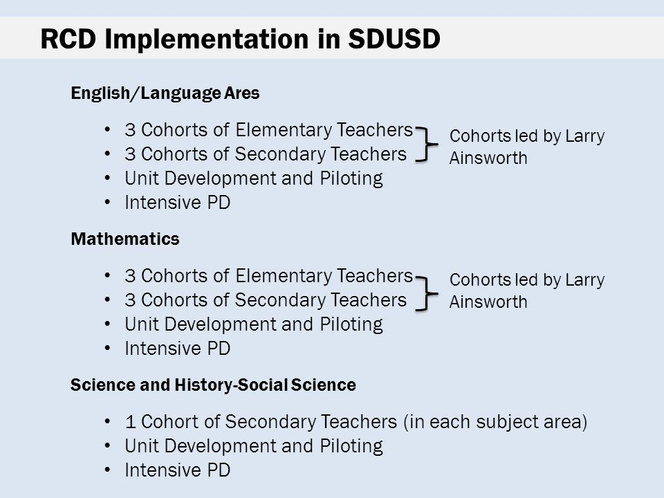 RCD Implementation in SDUSD English/Language Ares 3 Cohorts of Elementary Teachers 3 Cohorts of Secondary Teachers Unit Development and Piloting Intensive PD Mathematics 3 Cohorts of Elementary Teachers 3 Cohorts of Secondary Teachers Unit Development and Piloting Intensive PD Science and History-Social Science 1 Cohort of Secondary Teachers (in each subject area) Unit Development and Piloting Intensive PD Cohorts led by Larry Ainsworth