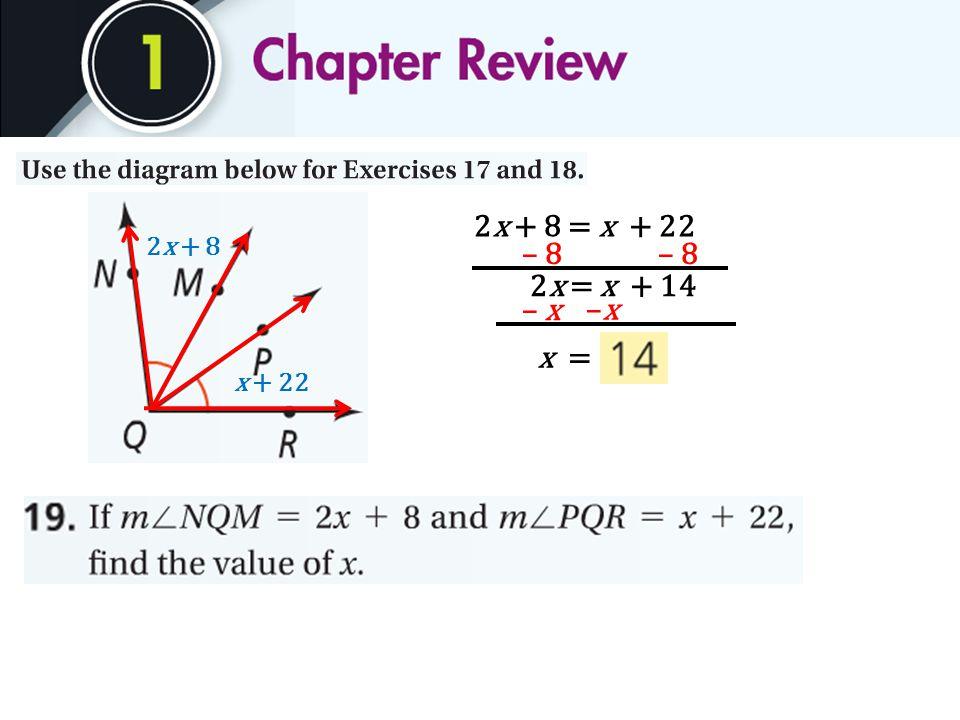 2x + 8 x + 22 2x + 8 = x + 22 – 8 2x = x + 14 –x–x – x x =