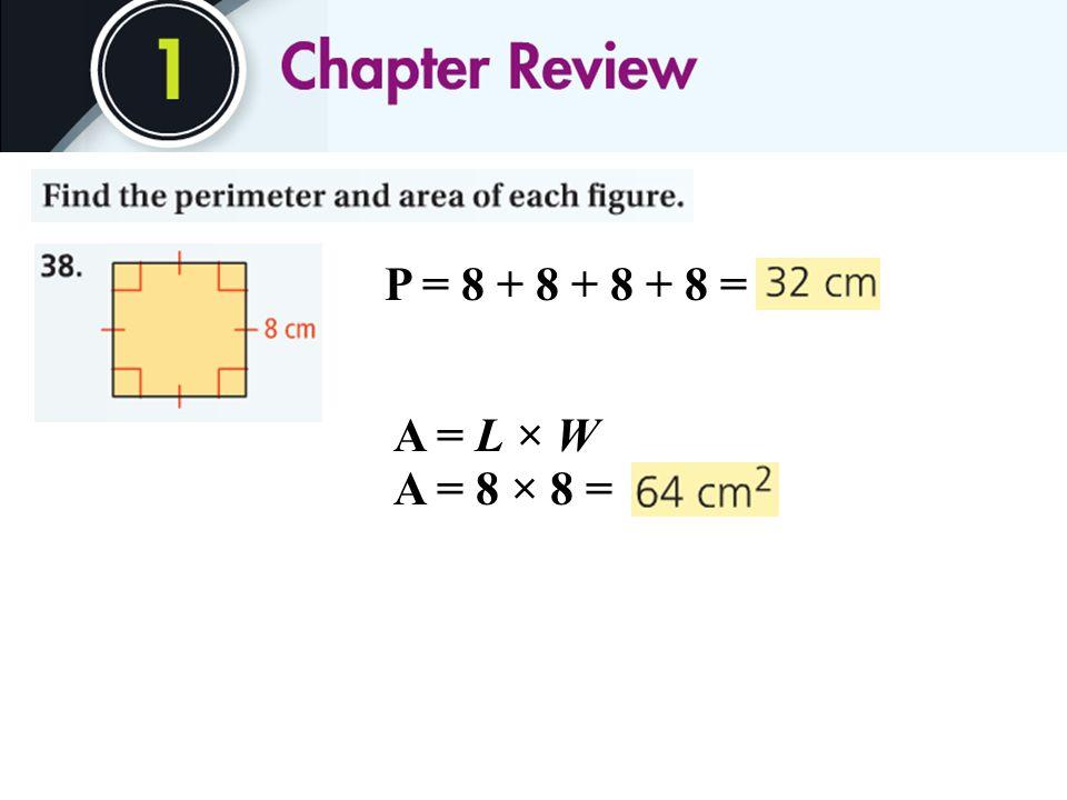 P = 8 + 8 + 8 + 8 = A = 8 × 8 = A = L × W
