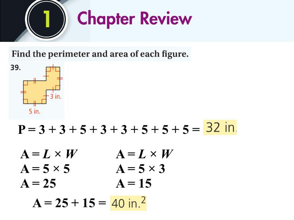 P = 3 + 3 + 5 + 3 + 3 + 5 + 5 + 5 = A = L × W A = 5 × 5 A = 25 A = 5 × 3 A = 15 A = 25 + 15 =