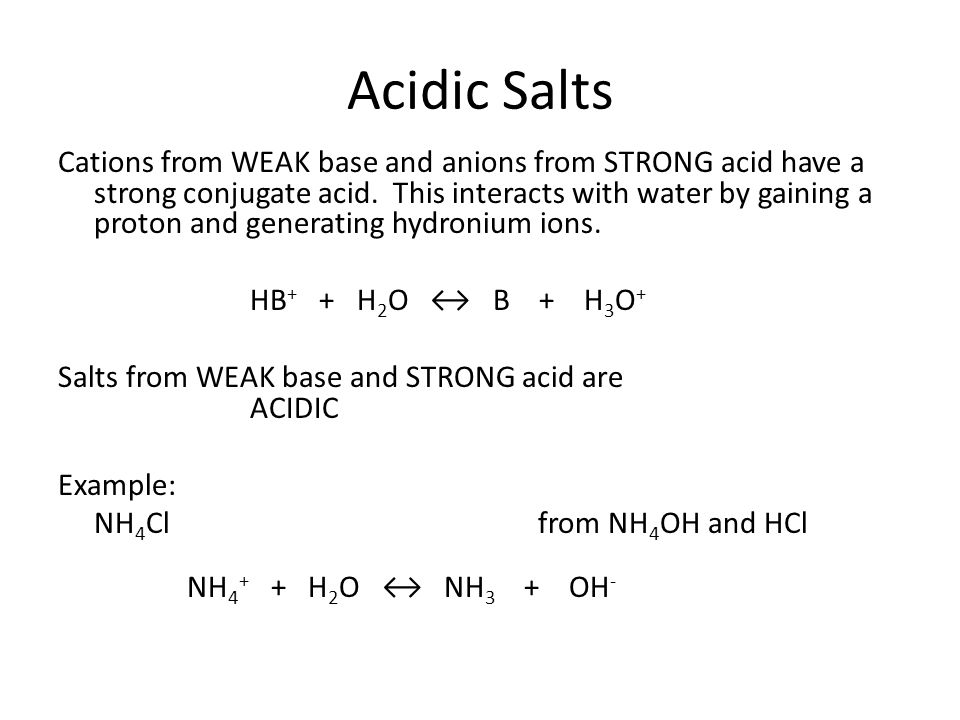 Acidic Salts Cations from WEAK base and anions from STRONG acid have a strong conjugate acid.