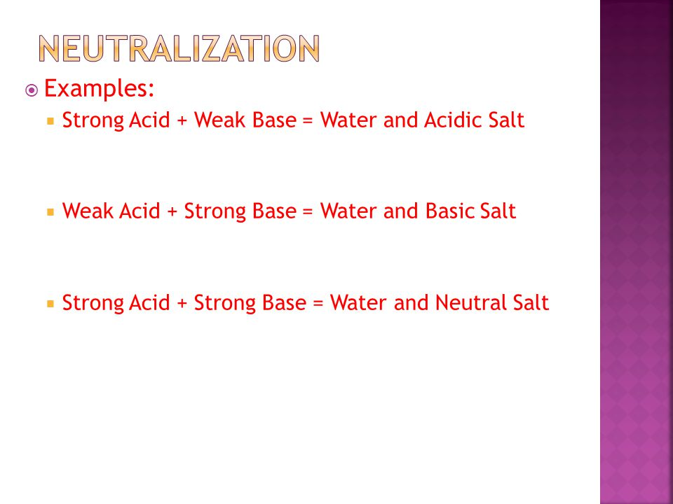  Examples:  Strong Acid + Weak Base = Water and Acidic Salt  Weak Acid + Strong Base = Water and Basic Salt  Strong Acid + Strong Base = Water and